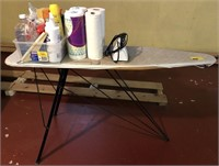 Ironing board, iron, and cleaning supplies