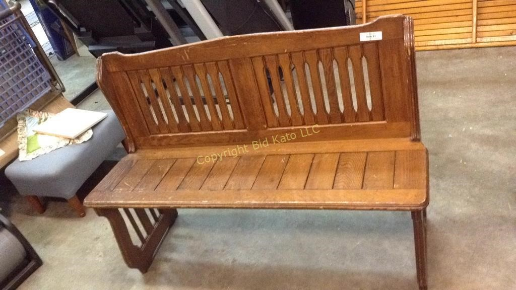 Pleasant Antique Wooden Church Pew Bench Bid Kato Caraccident5 Cool Chair Designs And Ideas Caraccident5Info