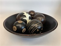 Wooden Bowl with Decorative Wooden Balls