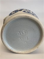Dutch Finger Painted Stoneware  Earred Crock
