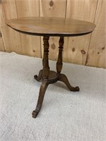 Early Walnut Tri Pedestal Side Table