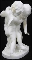 Marble Sculpture of 2 Putti Fighting Over a Heart