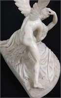 White Alabaster Sculpture of Cupid and Psyche