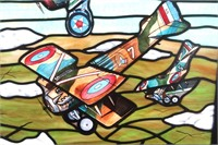 Leaded and Stained Glass Airplane Window