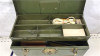 """Antique Metal Toolbox with contents 14x6x7"""""""