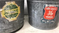 "2 Galvanized 10x10"" Buckets with mfg Labels"