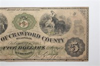 1863 Meadville PA Obsolete Five Dollar Banknote