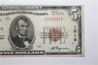 1929 Mount Joy PA Five Dollar Banknote