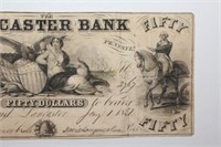 1851 The Lancaster Bank Fifty Dollar Banknote