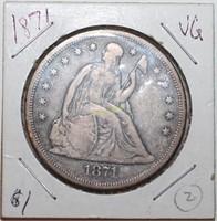 1871 Seated Liberty Silver Dollar
