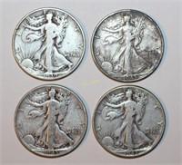 Four Walking Liberty Half Dollars