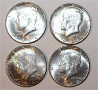 Four 90% Silver Kennedy Half Dollars