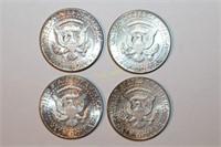 Four 90% Silver Kennedy Half Dollars