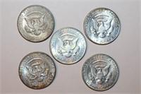 Five 40% Silver Kennedy Half Dollars