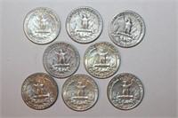 Eight 90% Silver Washington Quarters