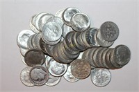 Fifty 90% Silver Roosevelt Dimes