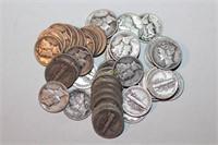 Fifty Silver Mercury Dimes