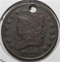 1828 Half Cent Coin with Hole