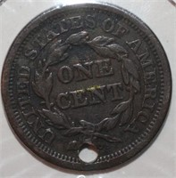1848 Large Cent Coin with Hole