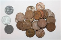 Copper Wheat Pennies and Steel Pennies