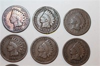 Nine Indian Head Pennies