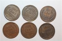Six Wheat Pennies