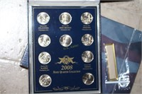 Ten 2008 Displayed State Quarters - Uncirculated