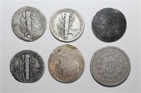 Damaged Dimes and a Shield Nickel
