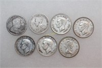 Seven Silver Canadian Quarters