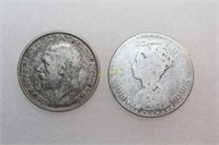 Silver British One Florin Coins