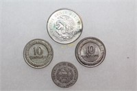 Silver 25, 10, and 5 Centavos Coins