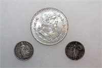Silver Peso, Centimes, and 1/2 Franc