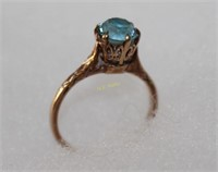 10K Gold Ring with Blue Stone