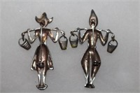 1940's Sterling Silver Norma Dutch Pin Set