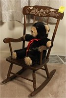 Child's Wooden Rocking Chair and Teddy Bear