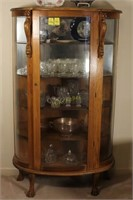 Wooden and Glass Claw Foot Curio Cabinet