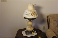 Pair of Painted Victorian Style Hurricane Lamps