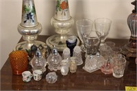 Pitcher and Bowl, Lamp, Candlesticks, and More