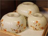 Three Hall's Superior Mixing Bowls