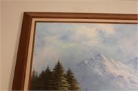 Framed Mountain Scene Painting