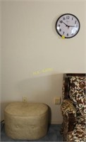 Wall Clock and Faux Leather Hassock