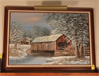 Framed Covered Bridge Oil Painting with Light