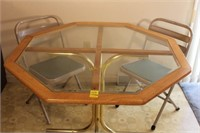 Glass Top Table and Folding Chairs
