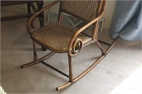 Child's Caned Rocking Chair and Wooden Chair
