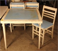 Wooden Folding Table and 4 Folding Chairs