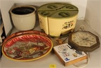 Crock, Canister Set on Lazy Susan, and More