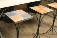 Wrought Iron and Tile Accent Tables