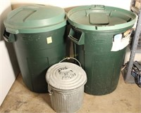 Rubbermaid and Galvanized Trash Cans