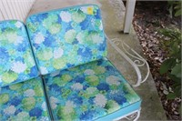 Wrought Iron Patio Love Seat with Cushions