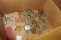 Box of Various Foreign Coins, Medallions, etc.